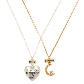 Mother & Daughter Moon & Star Pendant Necklaces,