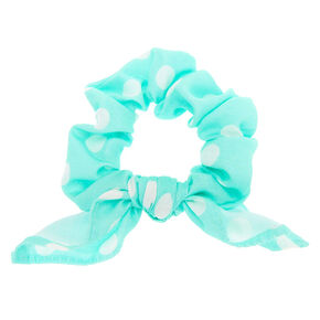 Small Polka Dot Knotted Bow Hair Scrunchie - Mint,
