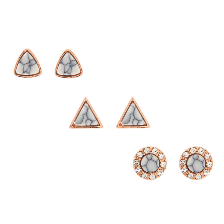 6976bb8d4d2 18kt Rose Gold Plated Marble Stud Earrings - 3 Pack | Claire's