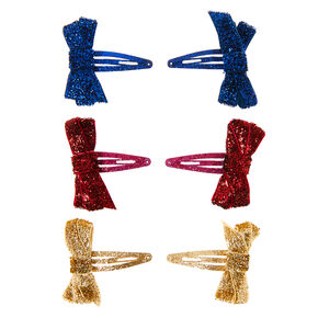 Claire's Club Glitter Bow Snap Hair Clips - 6 Pack,