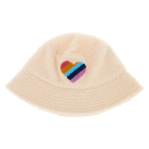 Sherpa Rainbow Heart Bucket Hat - Cream,