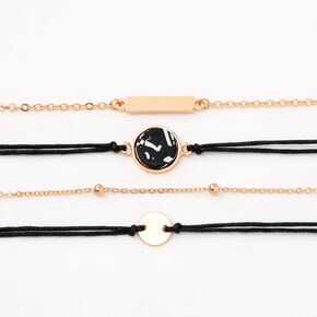 Gold Marble Disc Chain Bracelets - Black, 4Pack,