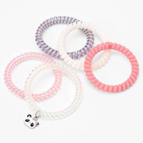 Claire's Club Panda Coil Bracelets - Pink, 5 Pack,