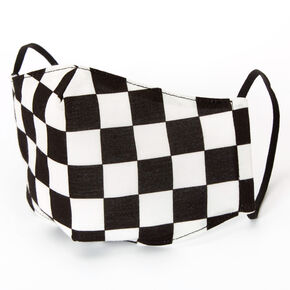 Cotton Black & White Checkered Face Mask - Adult,