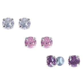 Silver Cubic Zirconia 5mm Round Magnetic Earrings 3 Pack
