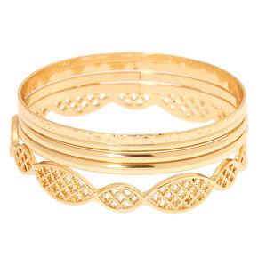 Lot de 5bracelets fins bangle à motif en filigrane couleur doré,