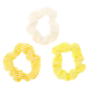 Claire's Club Small Striped Hair Scrunchies - Yellow, 3 Pack,