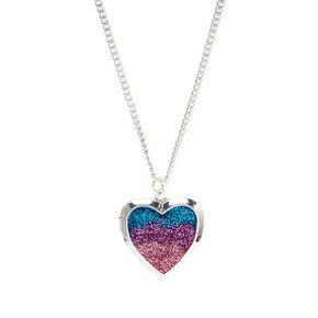 Blue, Purple & Pink Glitter Heart Shaped Locket,