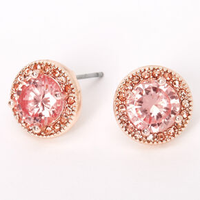 Rose Gold Cubic Zirconia Silk Stone Round Halo Stud Earrings - Pink,