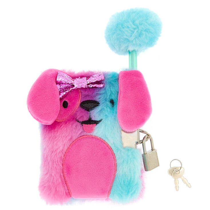 Claire S Club Riley The Puppy Plush Lock Diary Pink Claire S Us