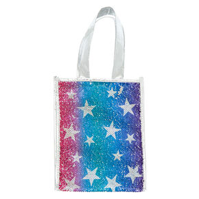 3f18cefff8 Reversible Sequin Star Tote Gift Bag - Silver