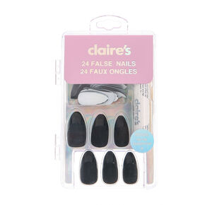 Matte French Tip Stiletto Faux Nail Set - Black, 24 Pack,