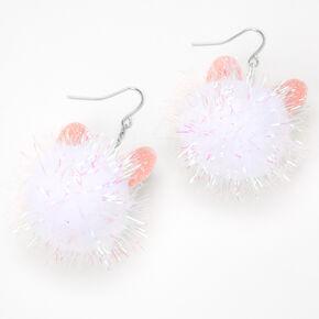 """Silver 2"""" Bunny Pom Pom Drop Earrings - White,"""
