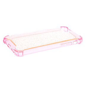 Clear Pink Glitter Protective Phone Case - Fits iPhone 6/7/8/SE,