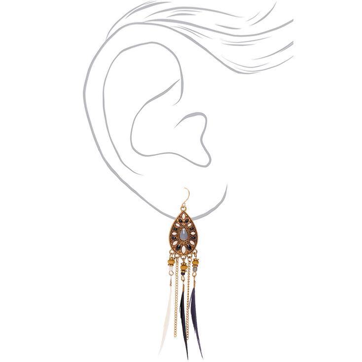 Pendantes à plumes 10cm couleur doré,