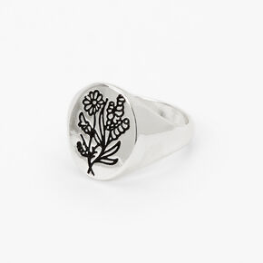 Silver Etched Flower Ring,