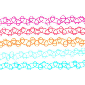 Summer Tattoo Choker Necklaces - 5 Pack,