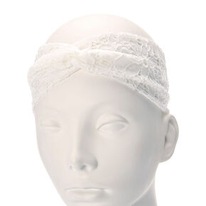Floral White Lace Twisted Headwrap,