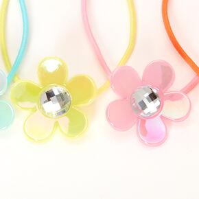 Claire's Club Pastel Summery Floral Gem Hair Ties - 4 Pack,