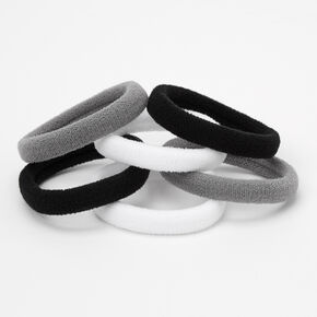 Black, Gray, & White Plush Rolled Hair Ties - 6 Pack,