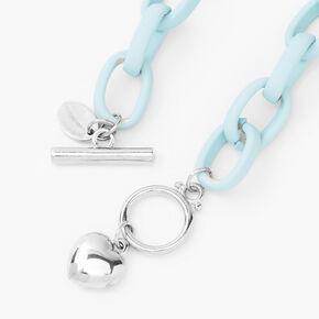 Silver Heart Rubber Chain Bracelet - Blue,