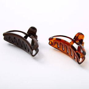 Tortoiseshell & Wood Cut Out Hair Claws - Brown, 2 Pack,