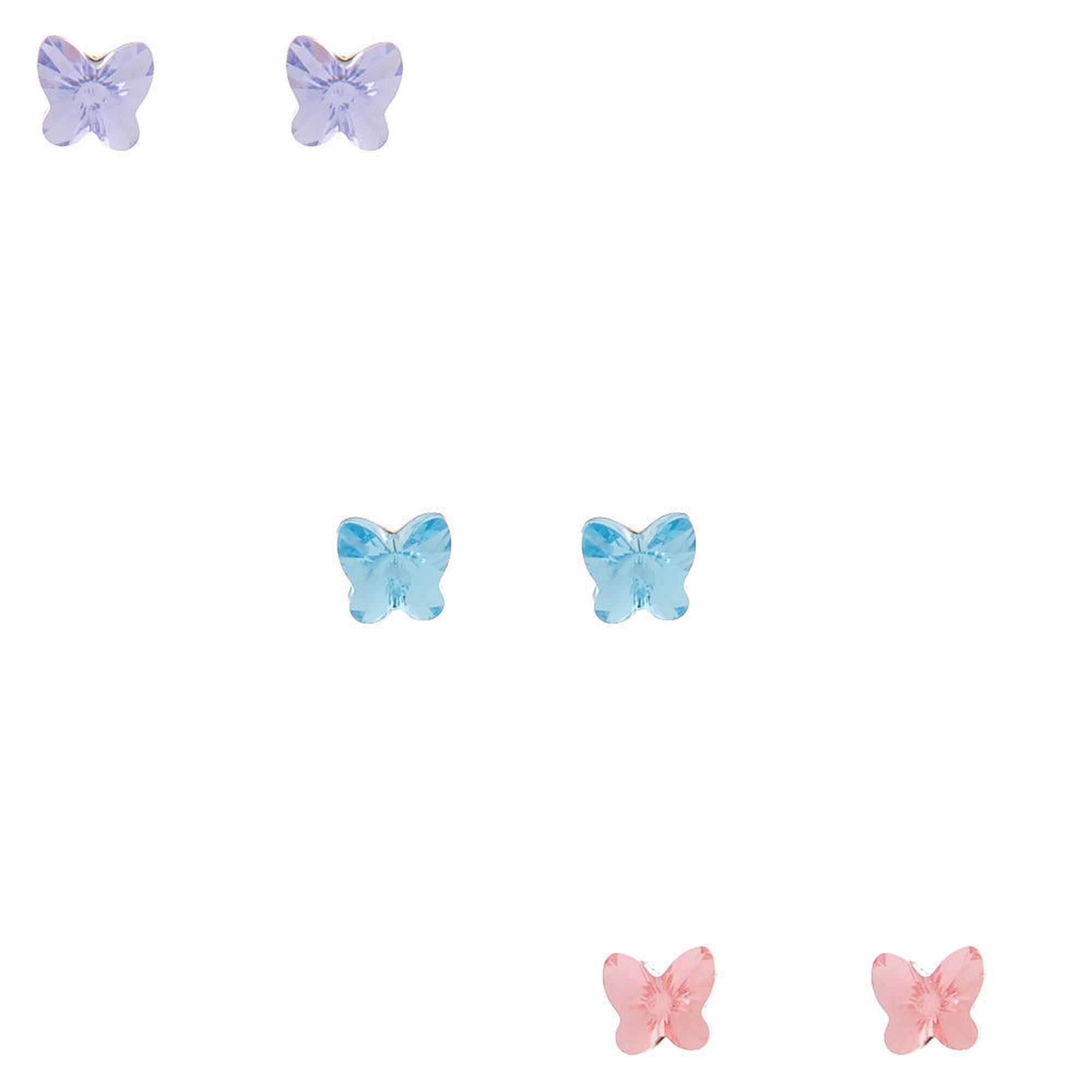 classic style of 2019 super cute best price Sterling Silver Swarovski® Crystal Butterfly Stud Earrings - 3 Pack