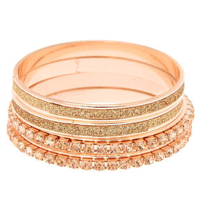 Claire's Club Glitter Crystal Bangle Bracelets - Rose Gold, 4 Pack,