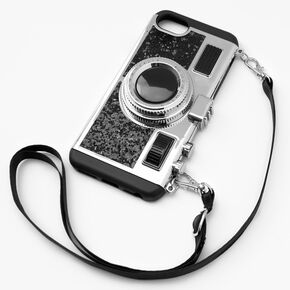 Black Glitter Camera Phone Case - Fits iPhone® 6/7/8/SE,