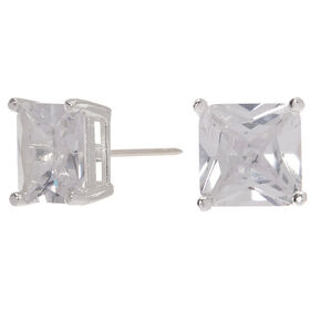 Sterling Silver Cubic Zirconia Square Stud Earrings - 7MM,