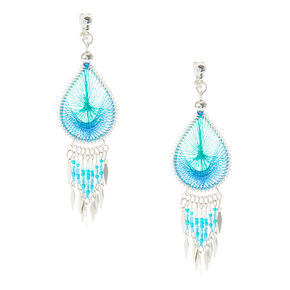 Turquoise Dreamcatcher Clip On Earrings,