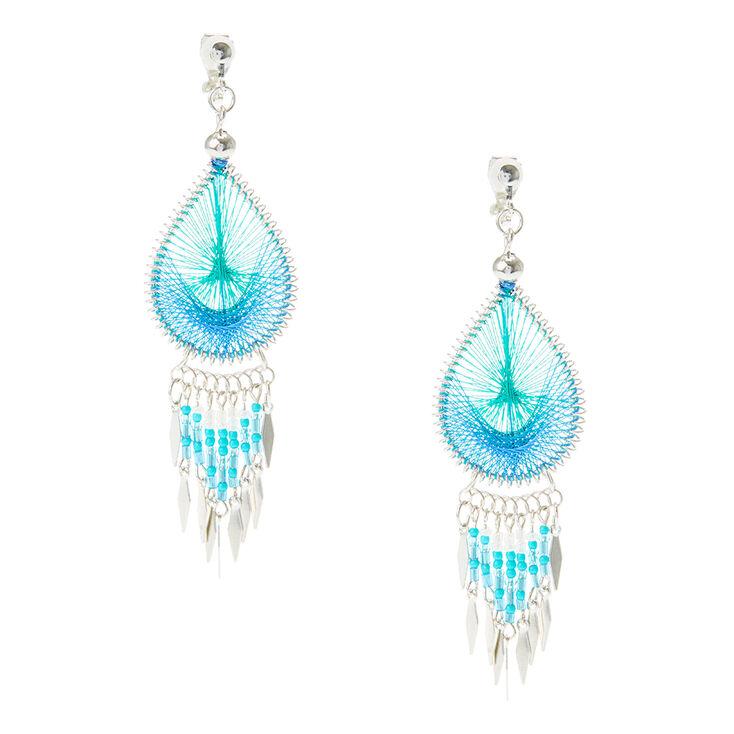 Boucles d'oreilles à clip attrape-rêves couleur turquoise,