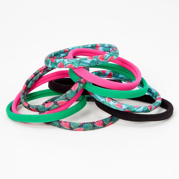 Watermelon Print Rolled Hair Ties - 10 Pack,