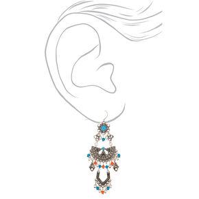 """Silver 2.5"""" Vintage Beaded Drop Earrings,"""