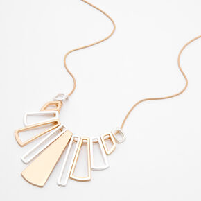 Mixed Metal Geometric  Pendant Statement Necklace,