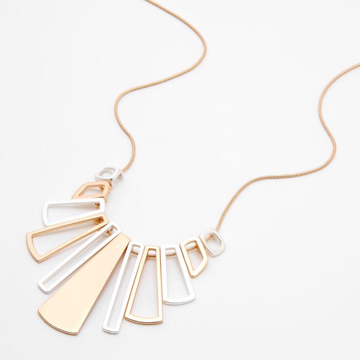 Collier de caractère avec pendentif géométrique en métaux mixtes,