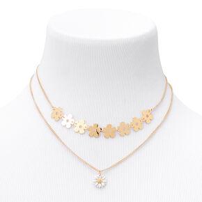 Gold Daisy Multi Strand Necklace,