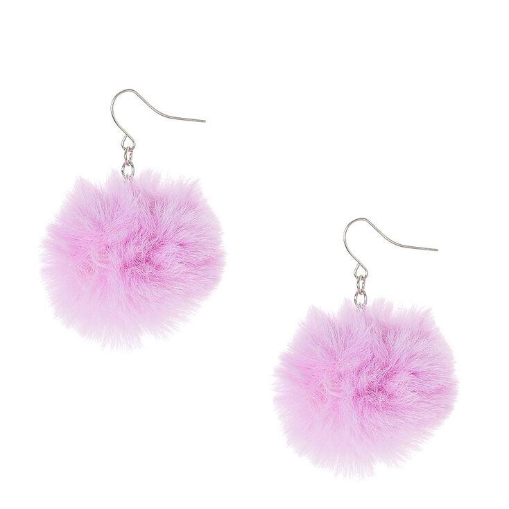 Pendants d'oreilles à pompons violet,