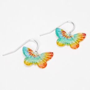 "Silver 0.5"" Tie Dye Butterfly Drop Earrings,"