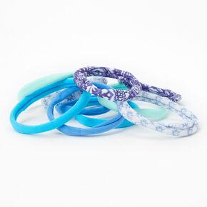 Élastiques roulés variés aux motifs unis et floraux - Bleu, lot de 10,