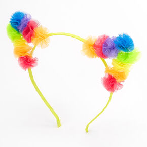 Rainbow Tulle Cat Ears Headband,