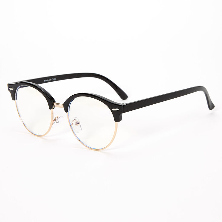 Blue Light Reducing Round Browline Clear Lens Frames - Black,