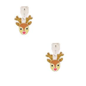 Reindeer Clip On Earrings Brown