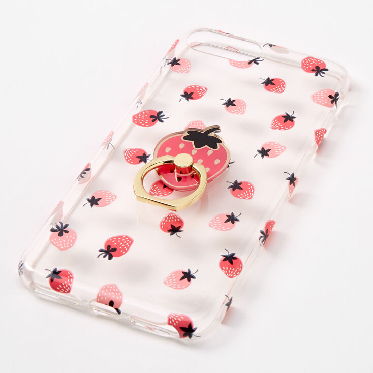Strawberry Ring Holder Protective Phone Case - Fits iPhone 6/7/8 Plus,