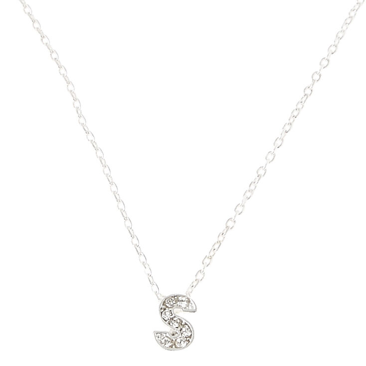 Silver Embellished Initial Pendant Necklace - S,
