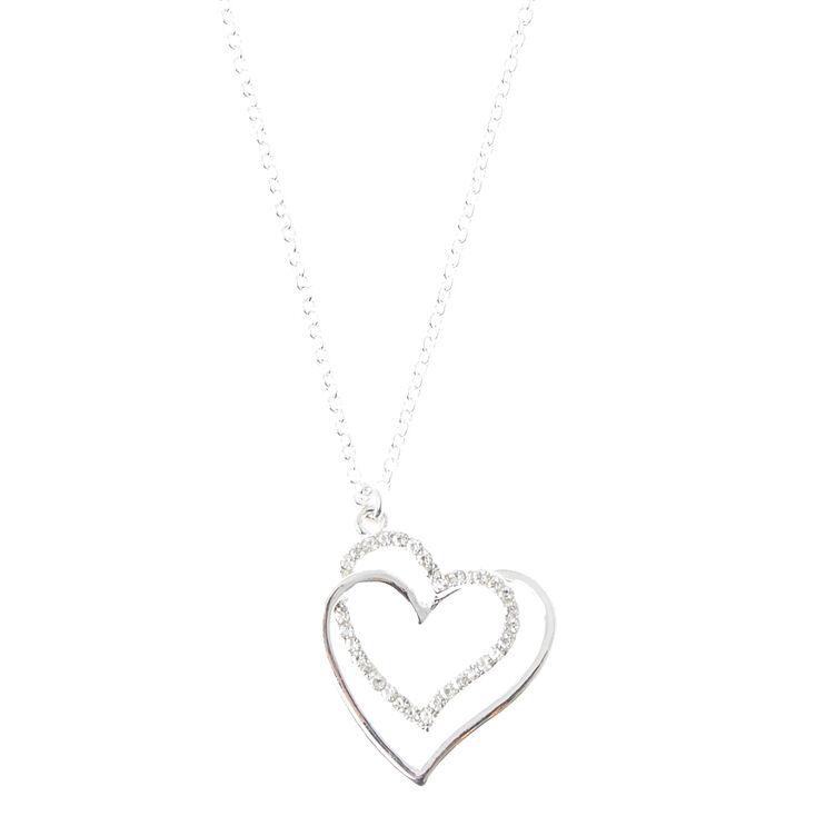 Collier à pendentif cœurs entrelacés couleur argentée,