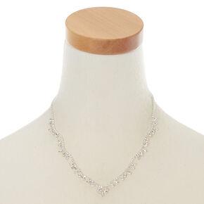 Silver Rhinestone Wave Leaf Statement Necklace,