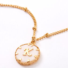 Gold Shell Initial Pendant Necklace - K,