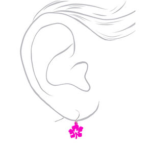 "Silver 0.5"" Hibiscus Flower Drop Earrings - Pink,"