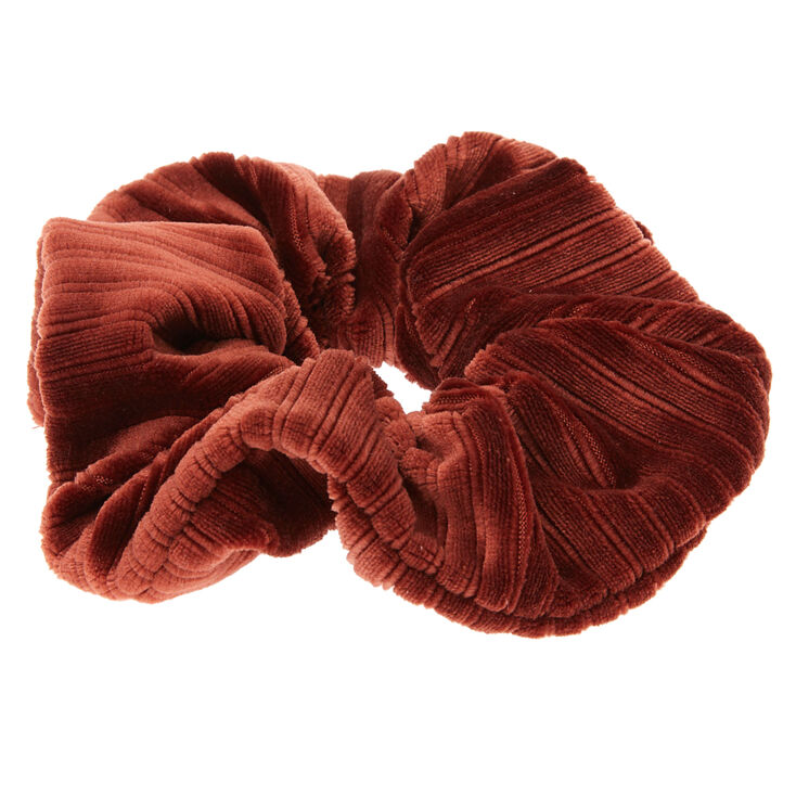 Medium Ribbed Velvet Hair Scrunchie - Brown,